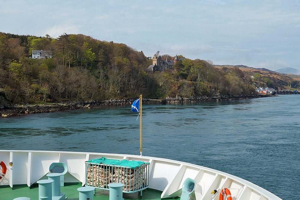 Picture of the bow of a ferry as it approaches an island port