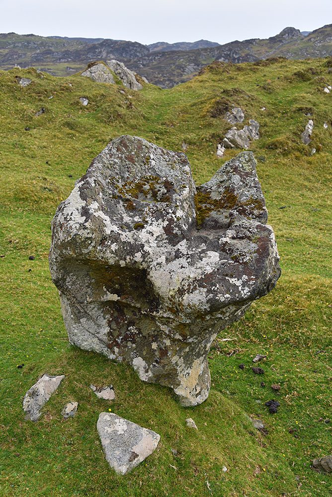 Picture of an interestingly shaped upright stone (I think some point used for some ritual or something)