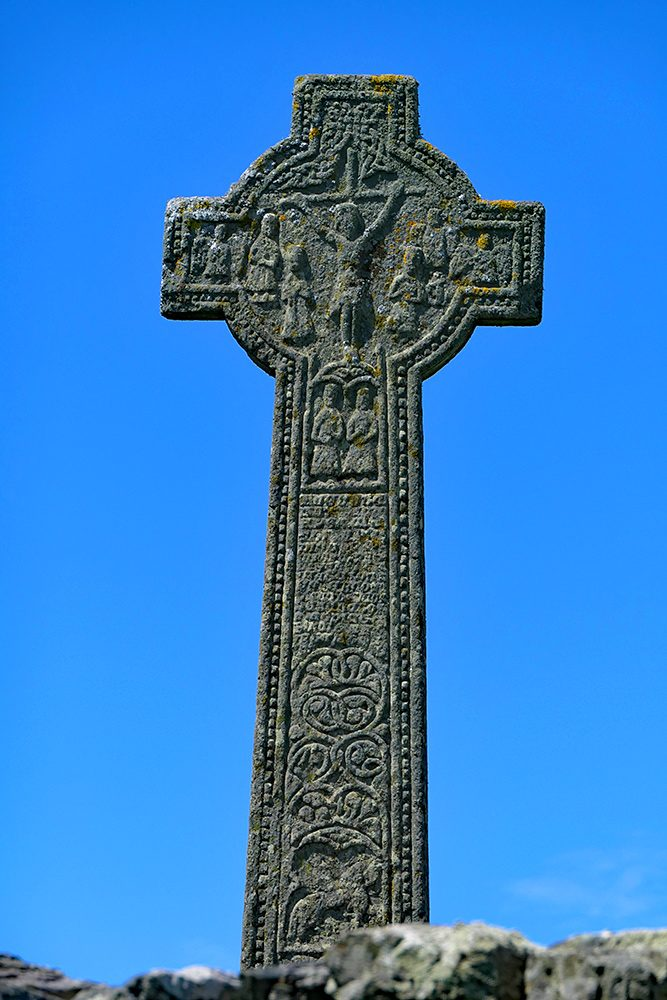 Picture of the Kilchoman Cross in bright sunshine