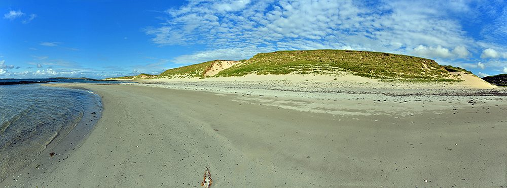 Panoramic picture of dunes along a beach