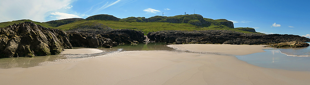 Panoramic picture of cliffs at the end of a sandy beach