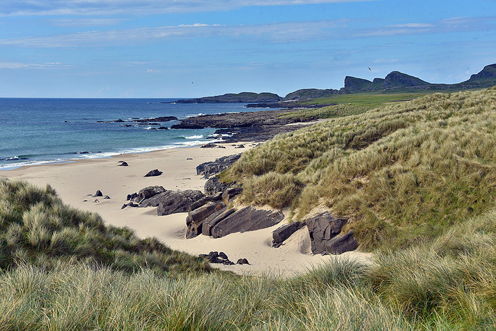 Picture of a coastal landscape with dunes, beach and cliffs