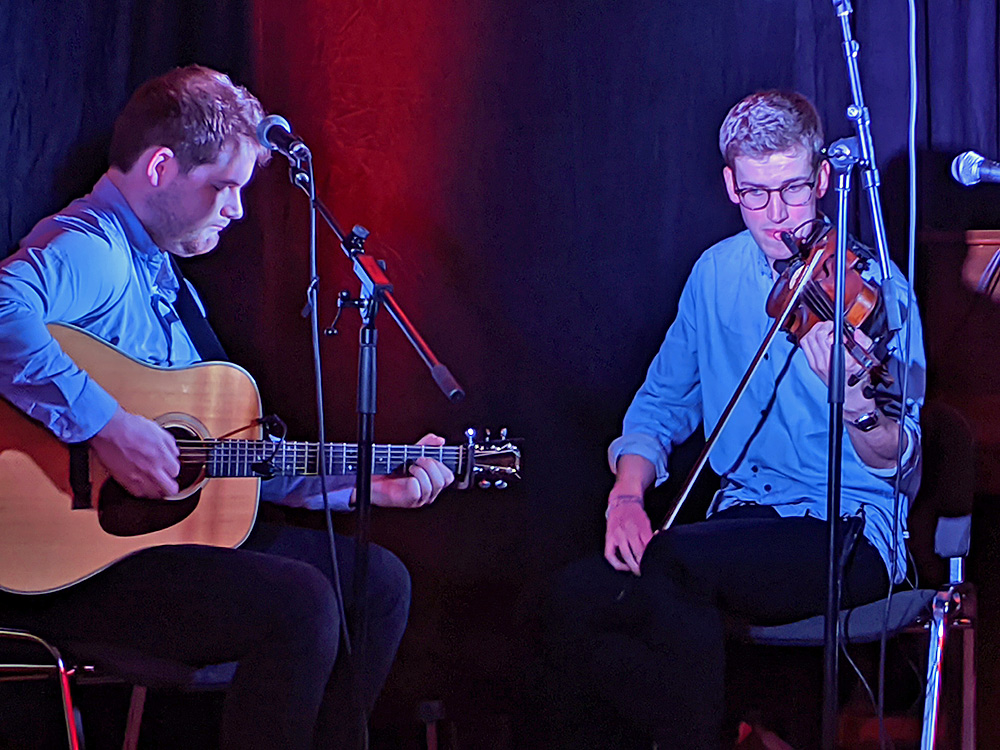 Picture of the Charlie Stewart Duo performing at the Islay Sessions 2019
