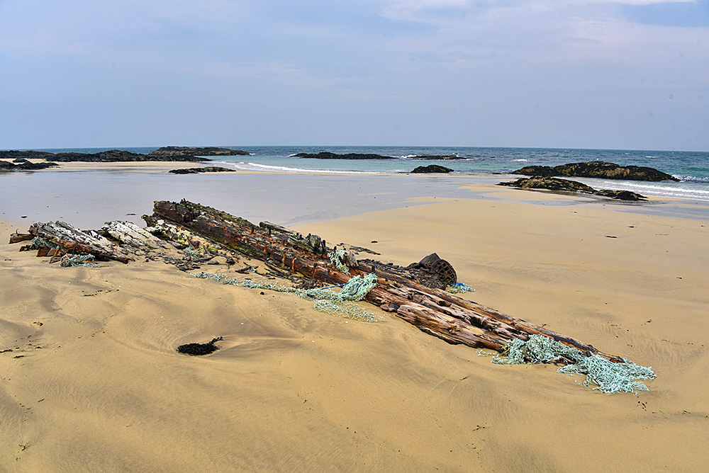 Picture of an old wreck on a beach