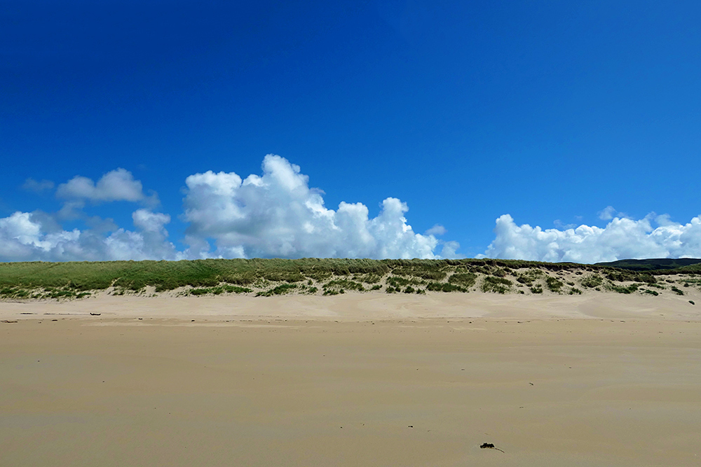 Picture of a bank of white fluffy clouds behind some dunes, seen from a beach