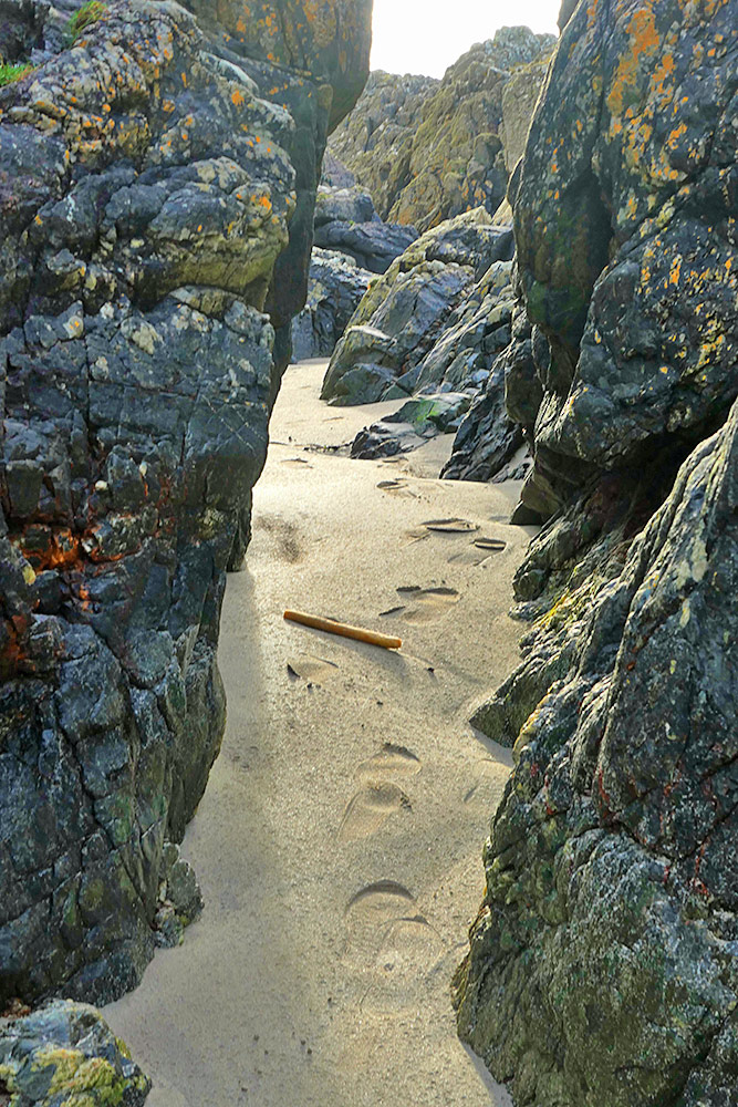 Picture of a sandy narrow passage through some low cliffs