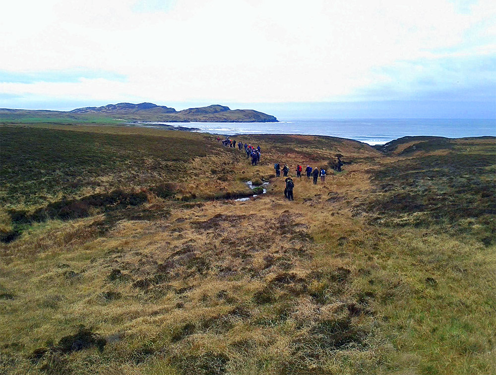 Picture of a group of walkers on grassland near a coast