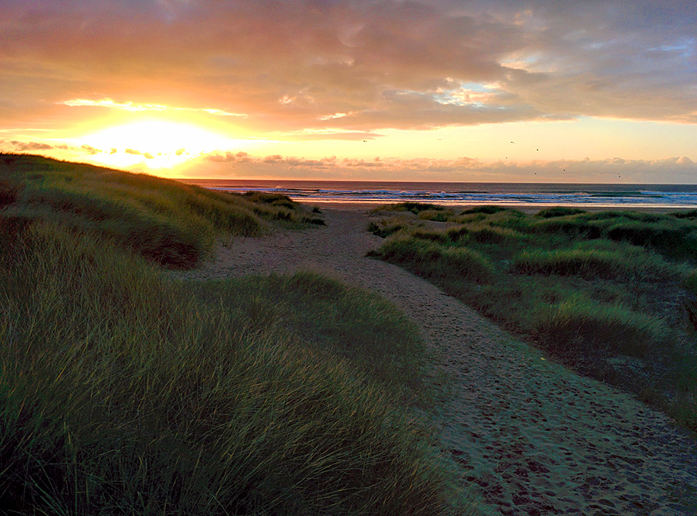 Picture of a path through dunes with an approaching sunset visible in the distance