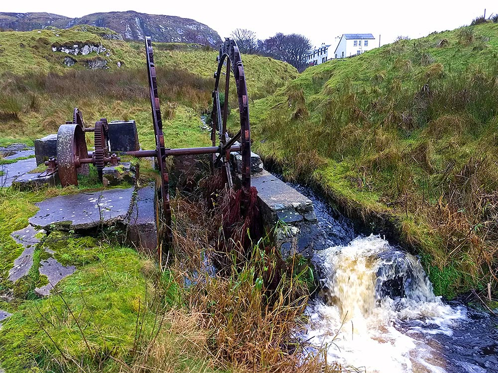 Picture of what remains of an old water wheel