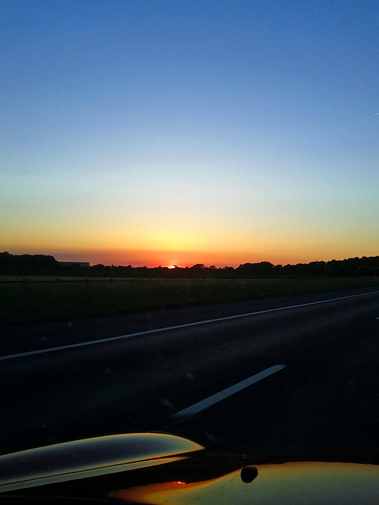 Picture of a June sunset seen from a motorway