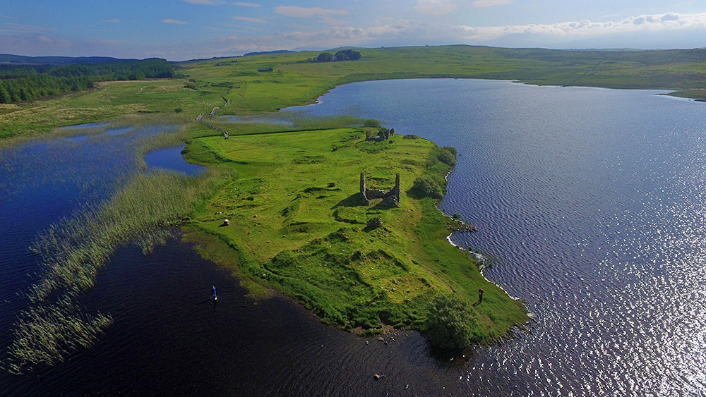 Picture of a small island in a loch (lake) with ancient ruins