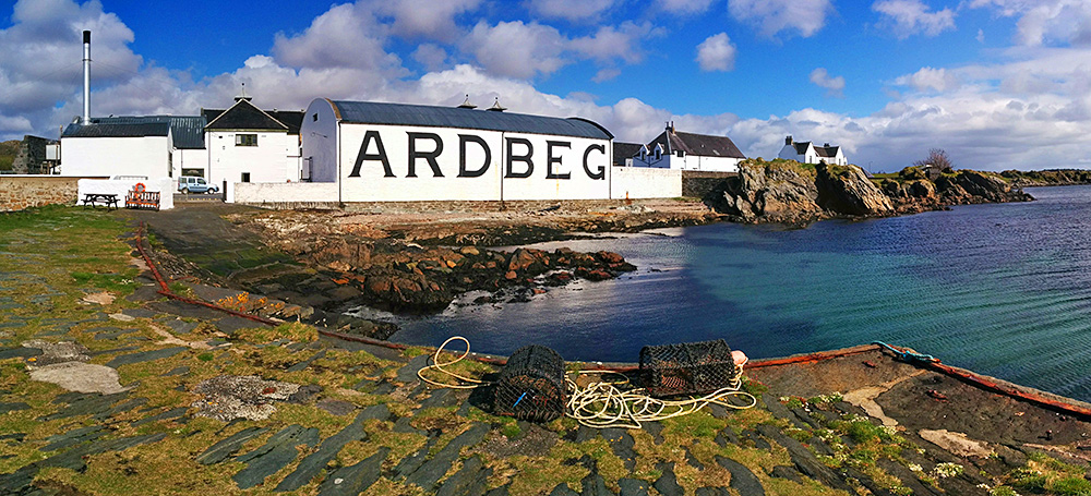 Panoramic picture of Ardbeg distillery from the small pier