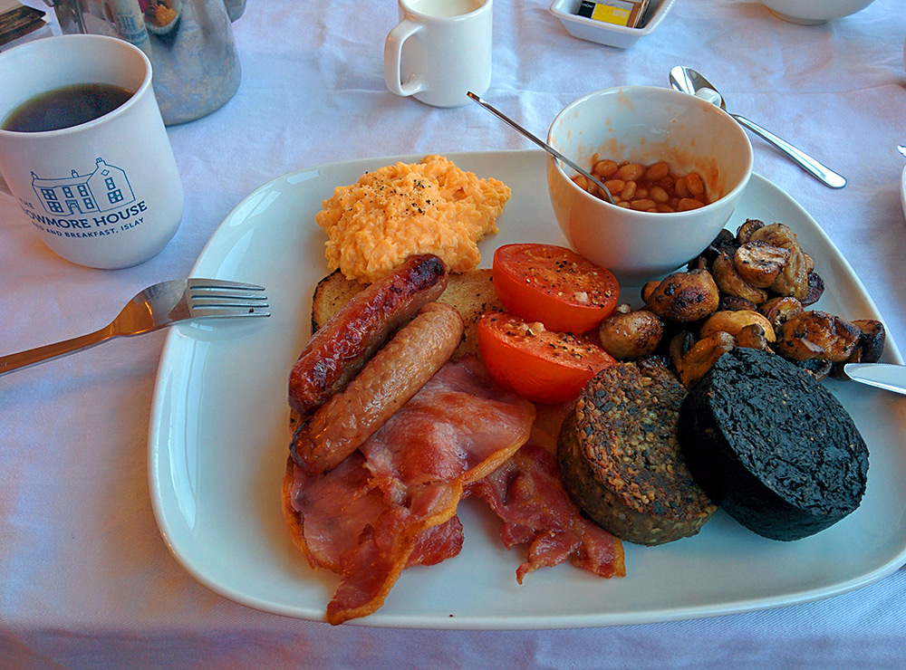 Picture of a full Scottish breakfast at The Bowmore House on Islay
