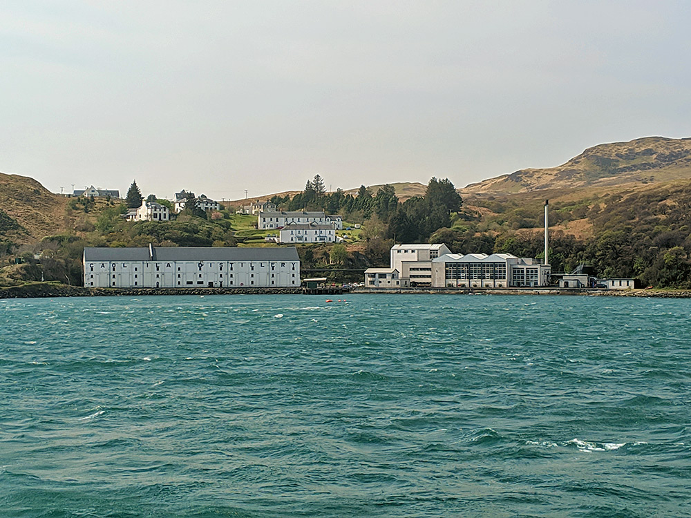 Picture of Caol Ila distillery seen from the Sound of Islay