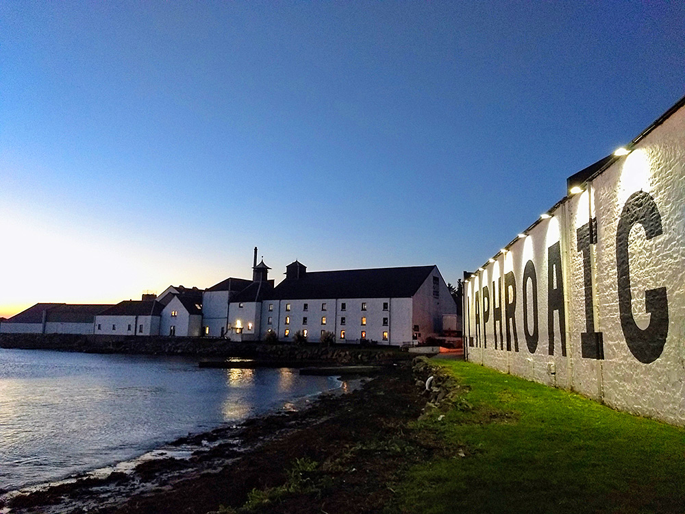 Picture of Laphroaig distillery in the mild light of the November gloaming