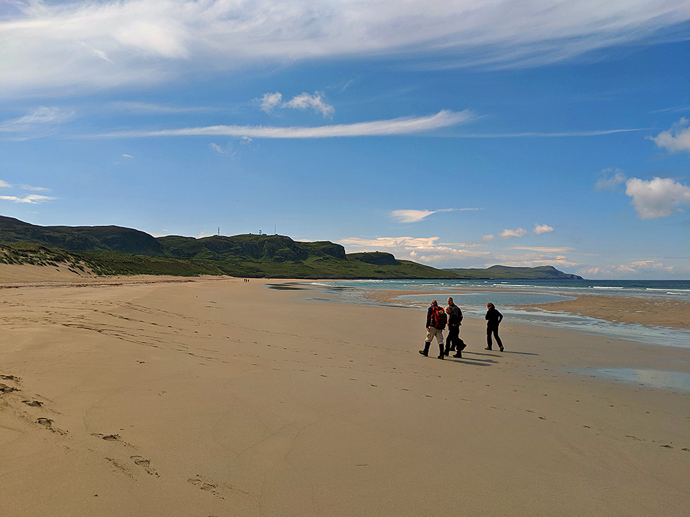 Picture of three walkers (and a dog) on a beach