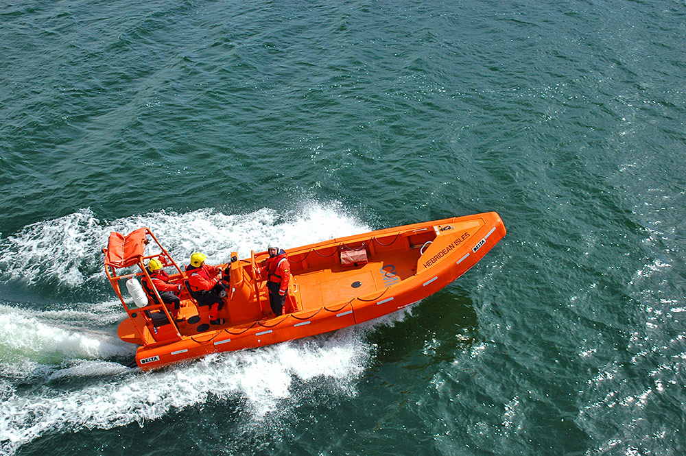 Picture of a fast rescue craft speeding off after having been lowered into the water