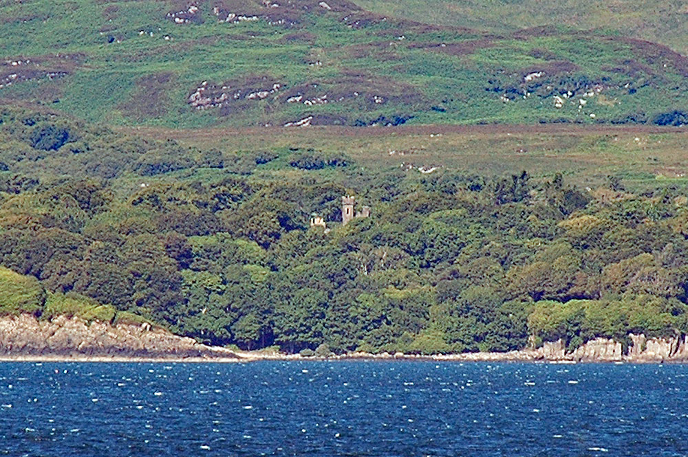 Picture of the tower of an old castle seen over some trees from a ferry
