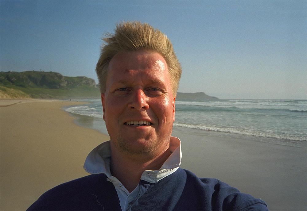 Selfie of a man on a beach