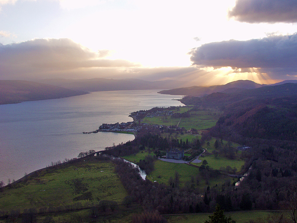Picture of the village of Inveraray in the December afternoon light seen from a hill