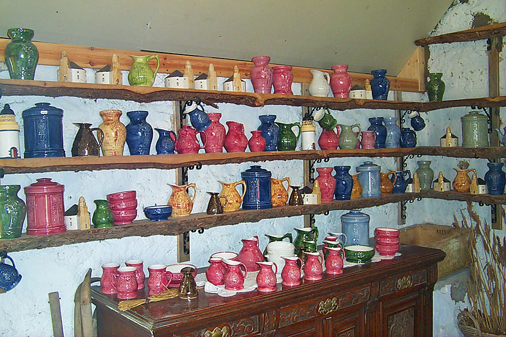 Picture of some of the products of Persabus Pottery on Islay back in 2000